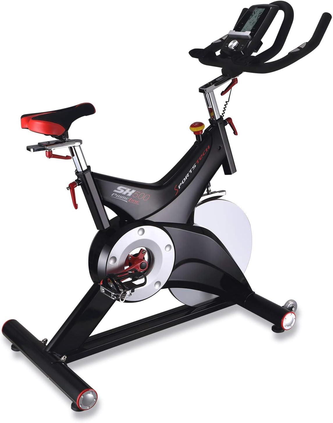 Sportstech vélo Appartement Silencieux SX500 - Marque Allemande de qualité -Video Events & Multijoueur App, Poids d'inertie 25KG, Compatible Ceinture pulsée - jusqu'à 150KG, eBook Inclus