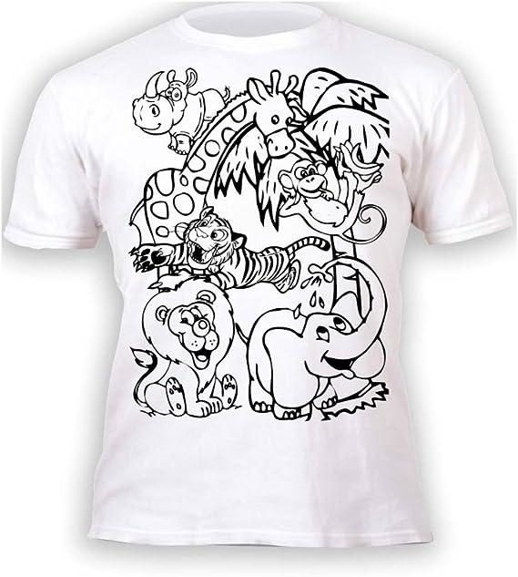 T Shirt Enfant Garçon Fille Zoo Animaux Du Zoo à Peindre Et à Dessiner Avec Un Patron 6 Crayons à Dessin Magiques Lavables Fournis Anniversaire