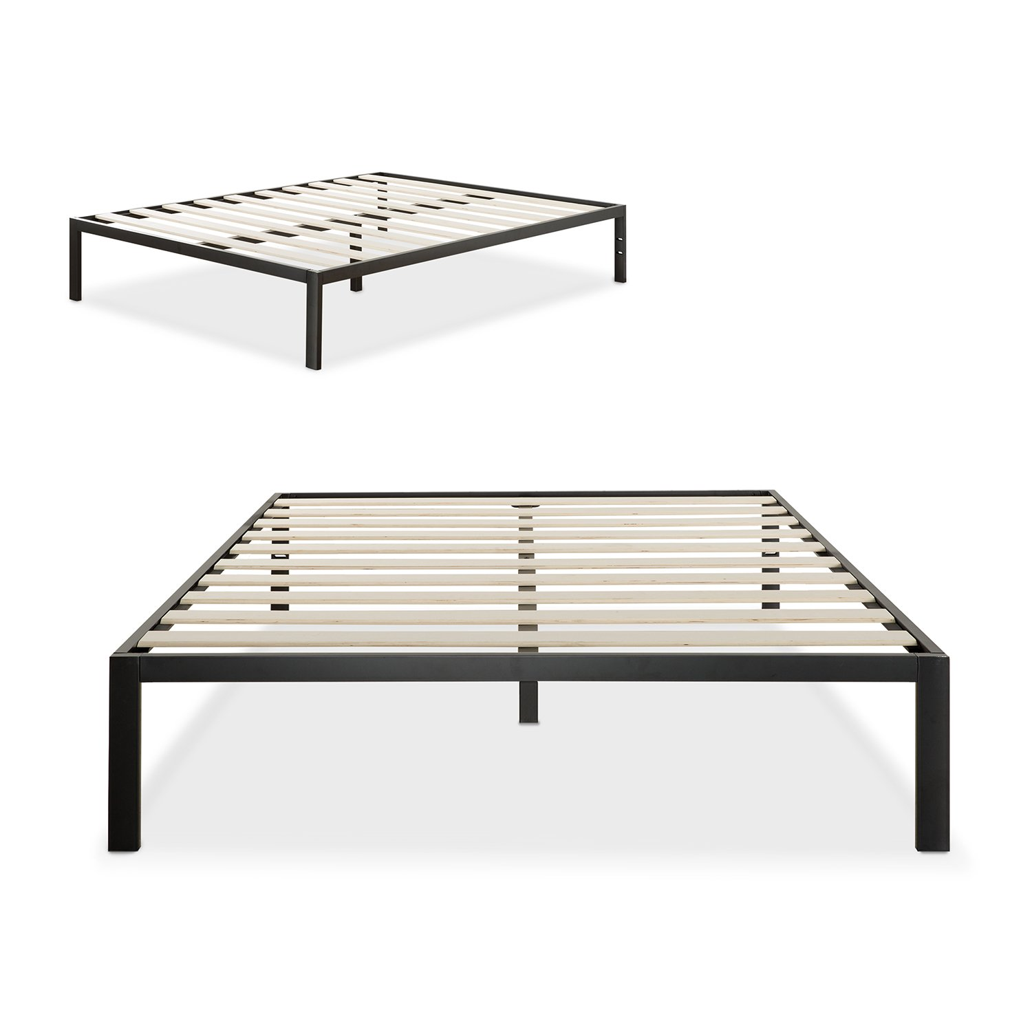 zinus modern studio 14 inch platform 1500 metal bed frame mattress foundation no boxspring needed wooden slat support black queen - Bed Frames Queen