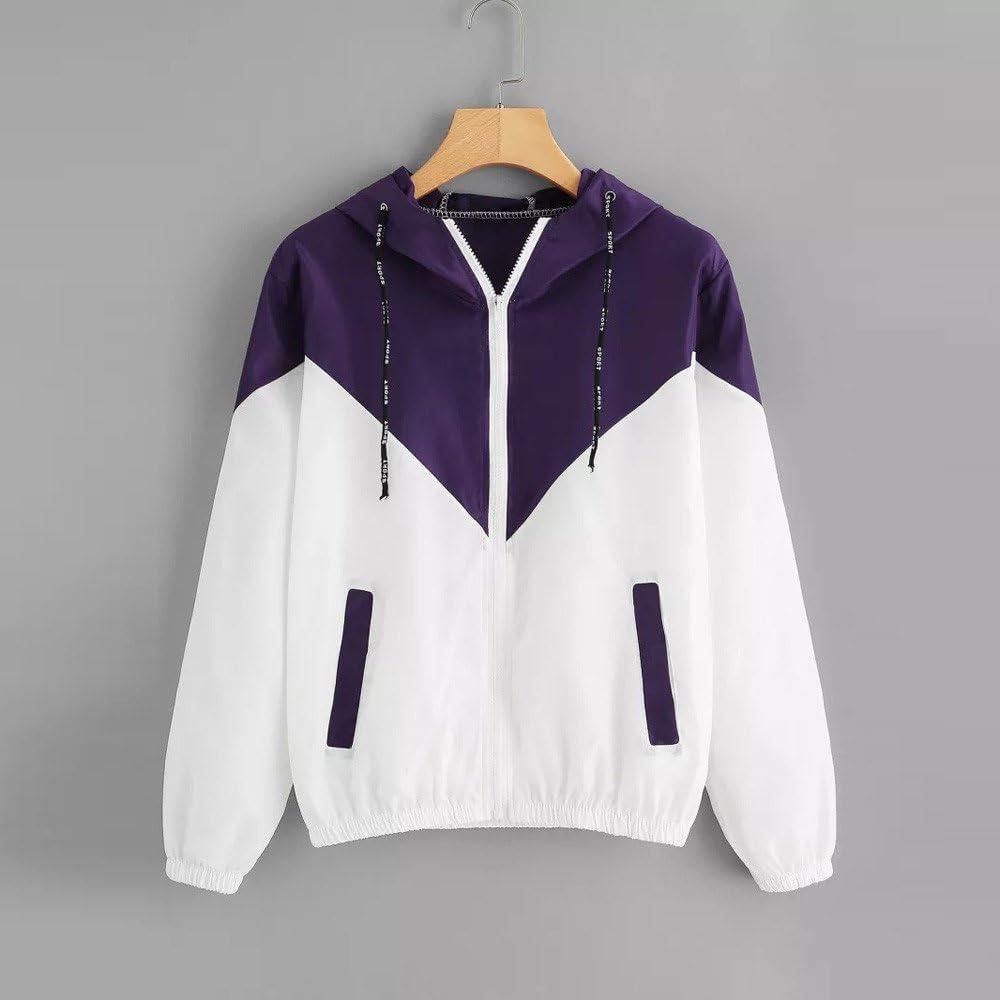 Womens Hooded Zip Sweatshirts Lightweight Waterproof Sweatshirt Splicing Pullover Hoodie Plus Size Sikye Pocket Elasticity Tumblr Sweatshirts Drawstring Long Sleeve Autumn Winter Jacket