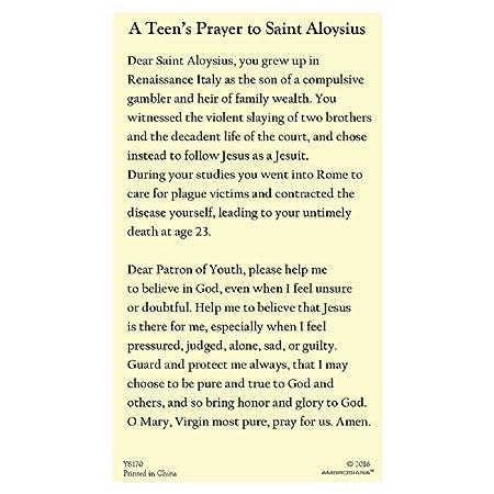 Amazon Com St Aloysius Gonzaga Holy Card 100 Pk Prayer