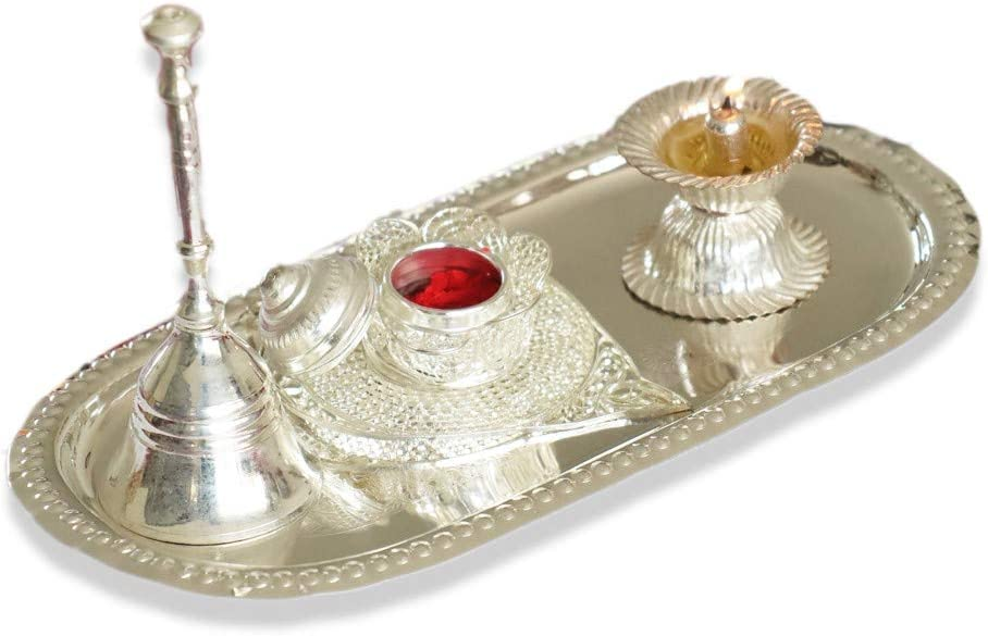 Silver Plated Pooja Thali Set with Diyas, Haldi Kumkum Plate and Temple Bells Wedding Gift