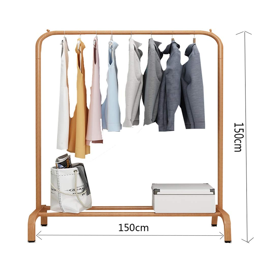 Wood color 150×150CM JIAYING Fashion Heavy Duty Garment Rack with Shelves 1-Tier shoes Rack,Coat Rack with Hanger Bar for Living Room, Bedroom, Study (color   Wood color, Size   80×130CM)