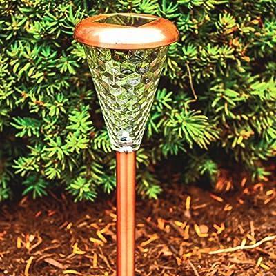 Sogrand 8pcs-Pack,Solar Lights Outdoor,Glass Lens Copper Finish,Solar Light,Landscape Lighting,Solar Pathway Lights,for Lawn,Patio,Yard,Walkway,Driveway,Pathway,Garden,Landscape