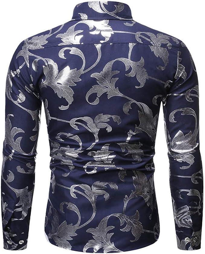 SUCES - Camiseta de Manga Larga para Hombre, diseño de Flores, Manga Larga, Talla S-XXL: Amazon.es: Ropa y accesorios