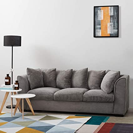 Wondrous Wellgarden Jumbo Cord Corner Sofa 3 Seater Fabric Sofa Settee Full Chenille Cord Fabric Sofa Left Or Right Chaise Couch 3 Seater Grey Sofa Short Links Chair Design For Home Short Linksinfo