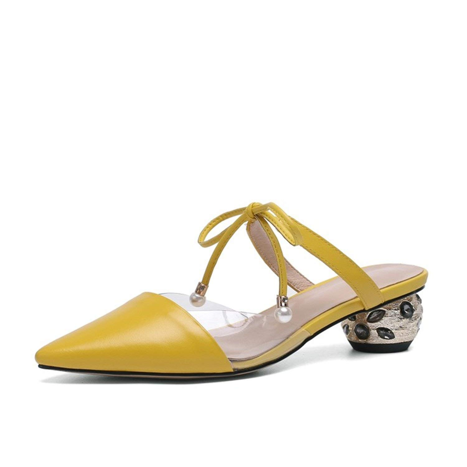 YELLOW Glad You Came Lace Up Mules High Heels Crystal Pointed Toe Fashion Plus Size Yellow Transparent Slippers Strange Style Ladies shoes