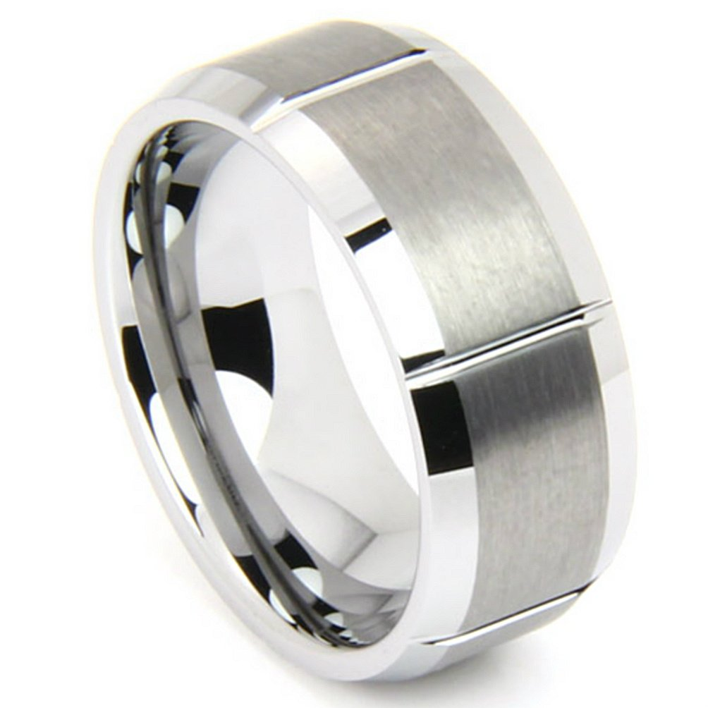 Tungsten Matte and Polished 8mm Comfort Fit Ring , Size 12.5