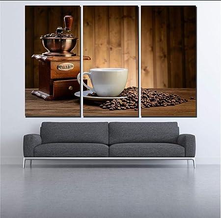 suwhao 3 Piezas Cafetera De Café Y Café En Grano Pintura De La Lona Decoración De La Pared Imágenes para Bar Pube Cafe Sala De Estar: Amazon.es: Hogar