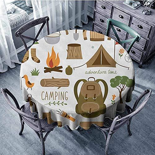(Sumilace Adventure Natural Tablecloth Camping Equipment Sleeping Bag Boots Campfire Shovel Hatchet Log Artwork Print Wedding 59