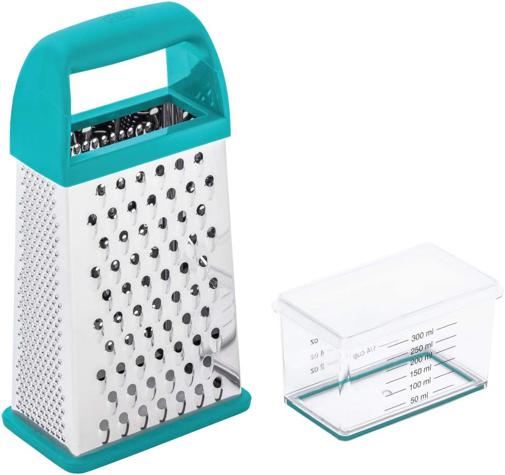 Gorilla Grip Box Grater, Stainless Steel, 4-Sided Graters with Handle for Cheese, Vegetables, Ginger, Handheld Food Shredder, Detachable Storage Container with Lid for Kitchen, 10inch, Turquoise