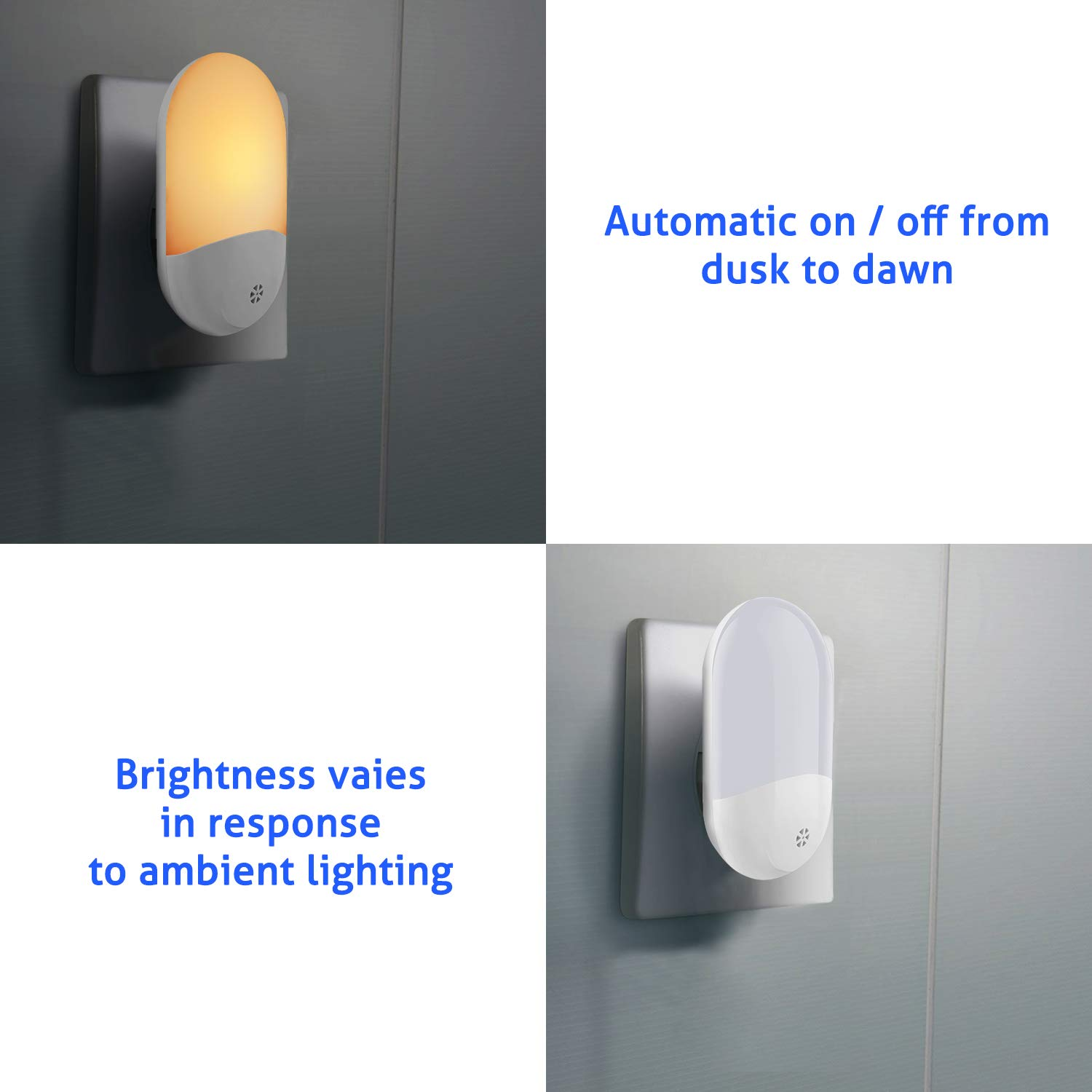 2 Pack BZONE Night Light Warm White LED Motion Activated Night Light for Hallway Bedroom Garage Lighting Stairs Kitchen Bathroom