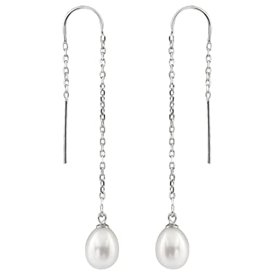 90171ad23 Amazon.com: 925 Sterling SIlver Thread Drop Earrings 7.5-8mm ...