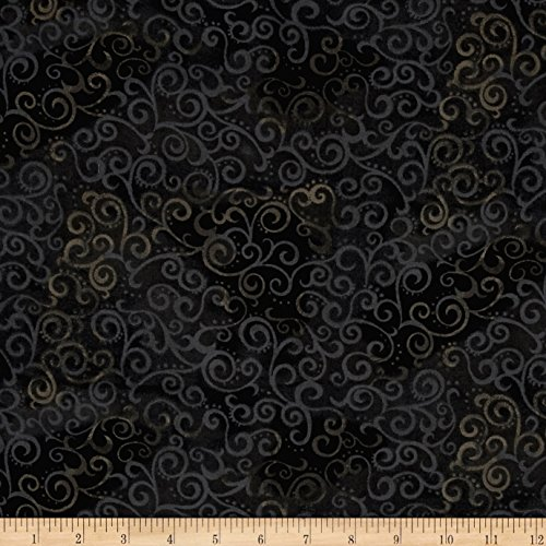 Quilting Treasures 108in Wide Quilt Back Ombre Scroll Black Fabric By The Yard