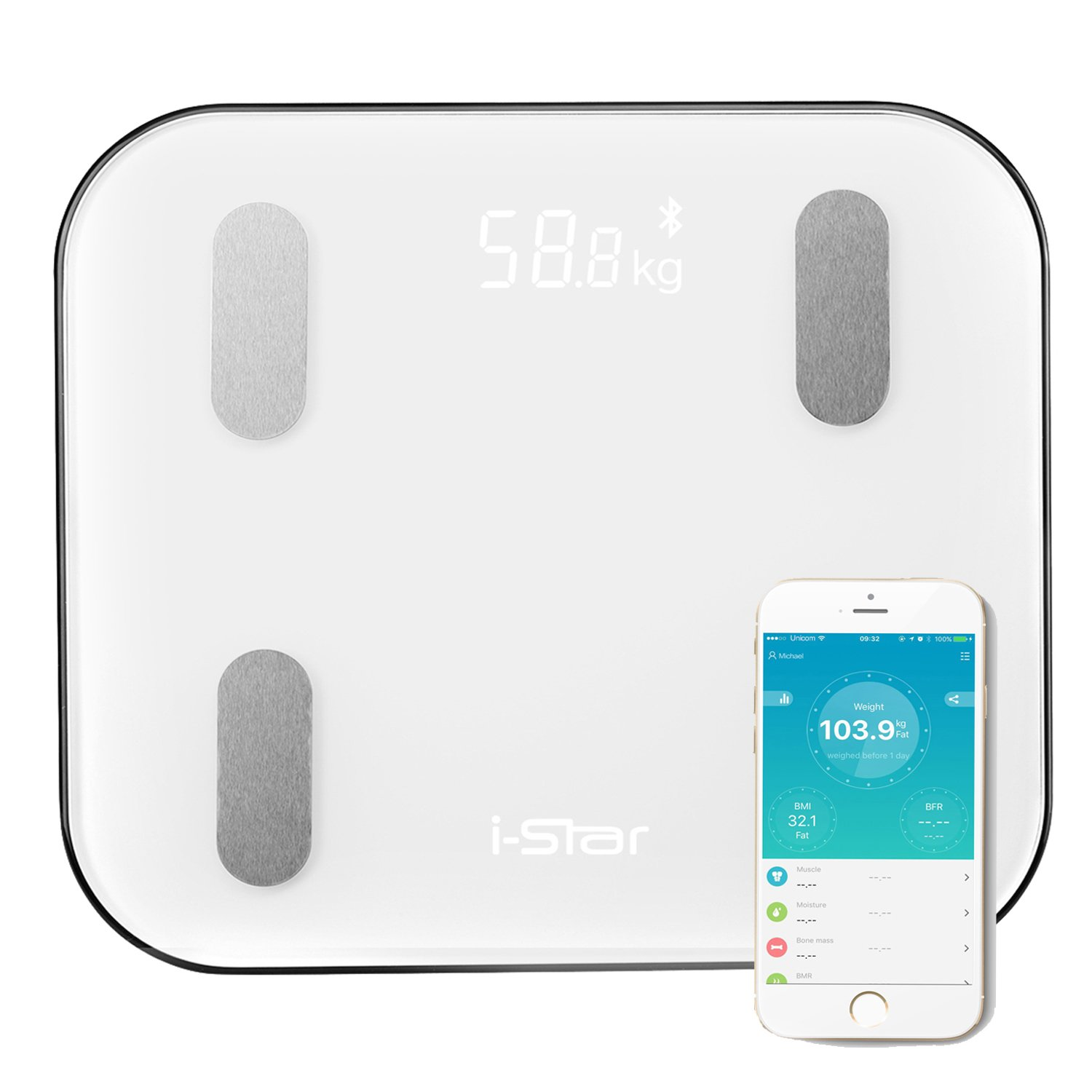 Bluetooth Body Fat Scale,i-Star Wireless Digital Smart Full Body Weight Composition Analyzer, Health Monitor with iOS and Android,Bathroom Use with Large Backlit Display,White … White … TA-11-004