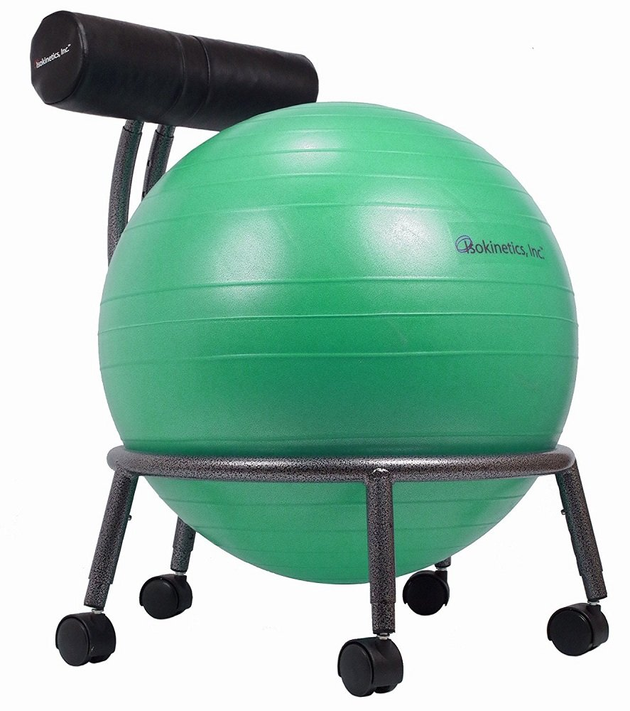 Isokinetics Inc. Brand Adjustable Fitness Ball Chair - Silver Flake on Black Metal Frame Finish - Exclusive: 60mm (2.5'') Wheels - Adjustable Base and Back Height - with Green 55cm Ball and a Pump