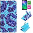 CaseMa-US PU Leather Wallet Style Stand Flip Case Case Cover Shell for Samsung Galaxy Alpha G850F G850T G850M (Blue flowers RX) with a Free Screen Protector