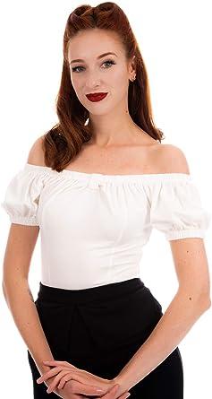 Ro Rox Bella Top Camiseta Sin Hombros 1950 Vintage Retro Pin Up Rockabilly