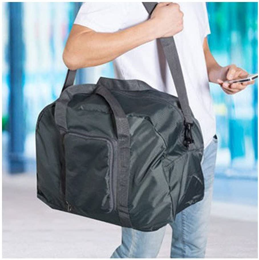 Travel Essential Luggage Laundry Foldable Storage Messenger Shoulder Bags Waterproof Nylon Zipper Sports Duffel Carrying Holder Gray