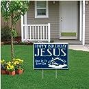 """Happy Birthday Jesus"" (blue) Christmas Lawn Display - Yard Sign Decoration"