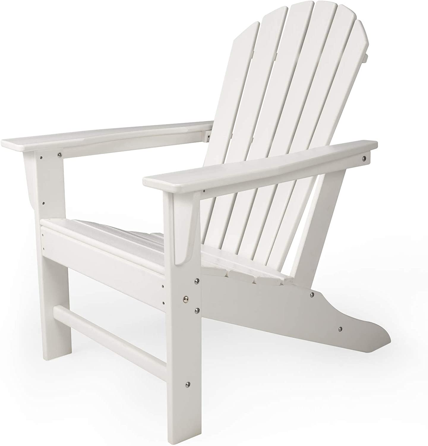 DAILYLIFE HDPE Adirondack Chair, Patio Outdoor Chairs, Plastic Resin Deck Chair, Painted Weather Resistant, for Deck, Garden, Backyard & Lawn Furniture, Fire Pit, Porch Seating (White)