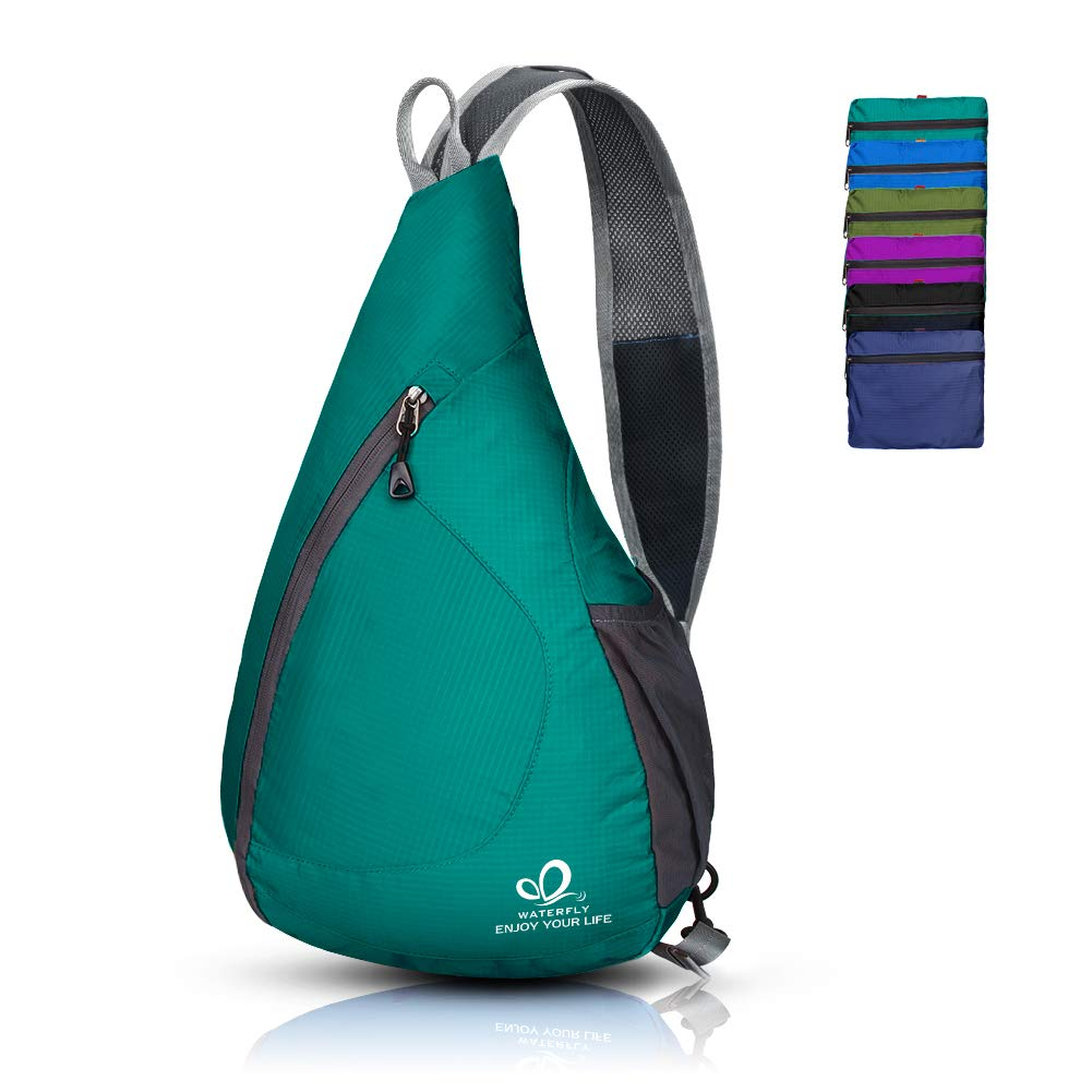 48ac4a4625b3 Amazon.com  Waterfly Packable Shoulder Backpack Sling Chest Crossbody Bag  Cover Pack Rucksack for Bicycle Sport Hiking Travel Camping Bookbag Men  Women ...