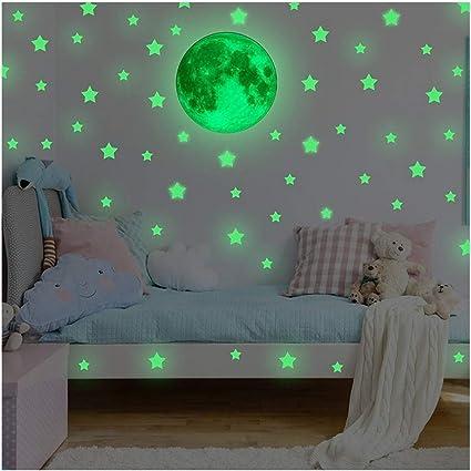 3D Moon Fluorescent Wall Sticker Glow In The Dark  Kids Bedroom Decoration