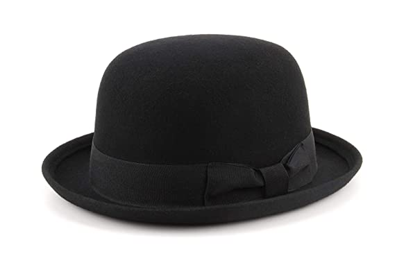 aa624ec8018660 Black Wool felt bowler Derby hat: Amazon.co.uk: Clothing