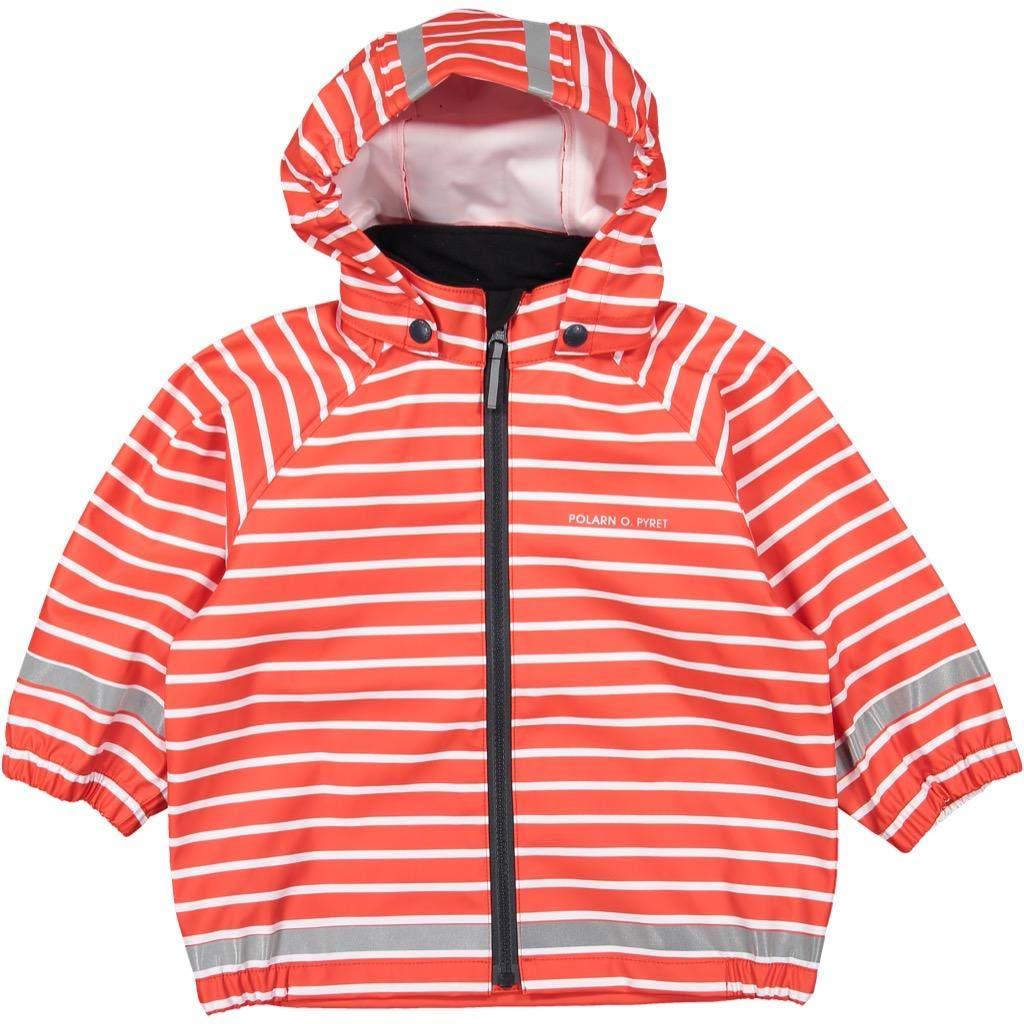 Polarn O. Pyret Classic Stripe RAIN Jacket (1-2YRS) - 1-2 Years/Flame Scarlet by Polarn O. Pyret