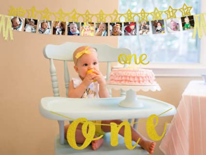 Amazon Com Baby S 1st Birthday Gold Glitter Decorations Kit 1st