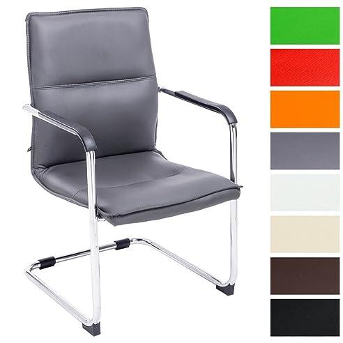 CLP Freischwinger Stuhl Mit Armlehne SEATTLE, Besucherstuhl, Konferenzstuhl  Gepolstert Grau