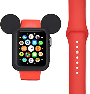 Cool Set Soft Silicone Protective Case Compatible with Apple Watch 38mm 40mm 42mm 44 mm Series 1 2 3 4 5 Cute Mouse Ears and Iwatch Silicone Band (Case + Band 44 mm)