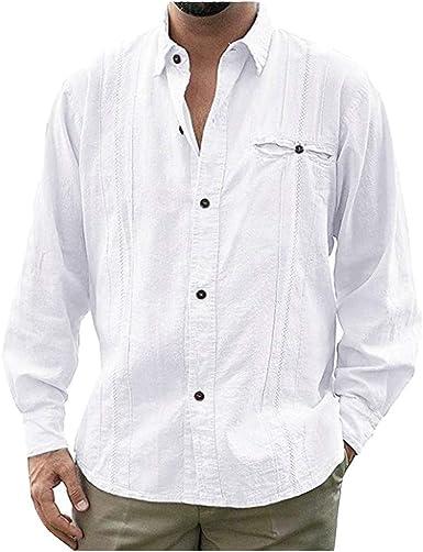 FNKDOR - Camisa de Manga Larga para Hombre, Estilo Informal ...