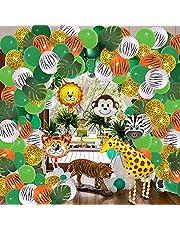 147 Jungle Decoratie, jungle verjaardagsdecoratie, ballongslinger, verjaardagsdecoratie, safari, verjaardagsdecoratie, palmbladeren, walking giraffe folieballon, dierenfolieballon (stijl 2)