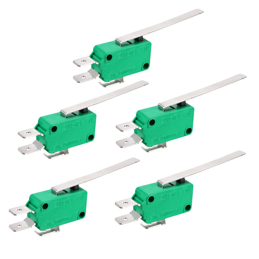 uxcell 5PCS KW3-OZ 16A 125//250VAC Long Straight Hinge Lever Type SPDT NO NC Micro Limit Switches