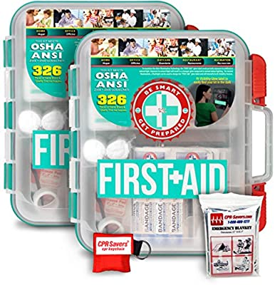 2 Pack First Aid Kit With Hard Case - 326 pcs each - First Aid Complete Care Kit - CPR Savers Keychain & Emergency Mylar Blanket from Be Smart Get Prepared