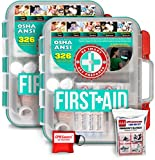 Health & Personal Care : 2 Pack First Aid Kit With Hard Case - 326 pcs each - First Aid Complete Care Kit - CPR Savers Keychain & Emergency Mylar Blanket