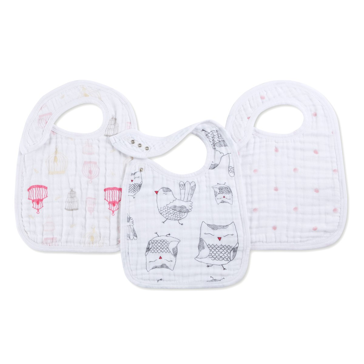 "aden + anais Snap Bib, 100% Cotton Muslin, Soft Absorbent 3 Layers, Adjustable, 9"" X 13"", 3 Pack, Thistle 9"" X 13"" 7122"