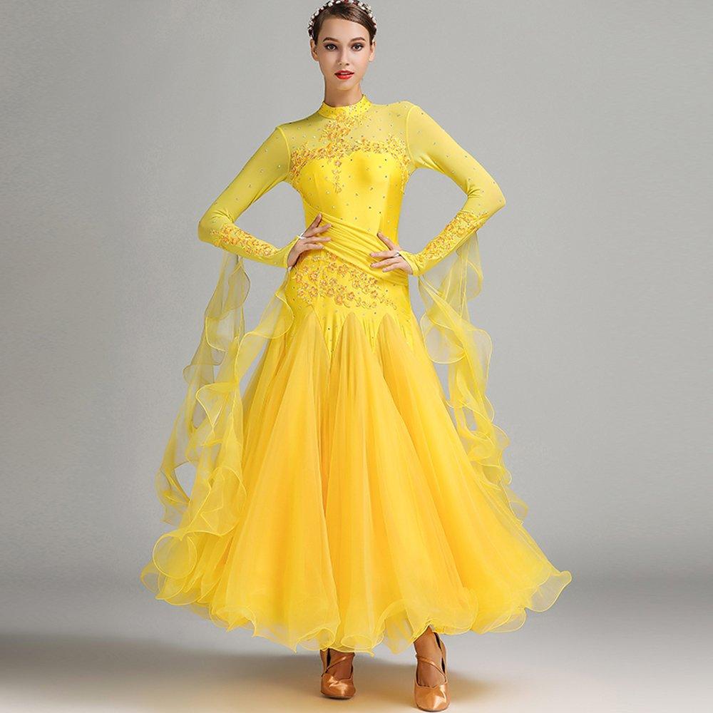 人気No.1 現代の女性の大きな振り子の手刺繍タンゴとワルツダンスドレスダンスコンペティションスカート長袖ラインストーンダンスコスチューム B07HHW8MS7 Large|Yellow B07HHW8MS7 Large|Yellow Large Yellow Large, ヒロシマシ:43033cb7 --- a0267596.xsph.ru