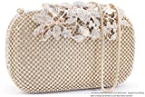 Dexmay Luxury Flower Women Clutch Purse Rhinestone Crystal Evening Bag for Wedding Party Gold