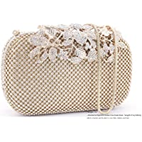 Dexmay Luxury Flower Women Clutch Purse Rhinestone Crystal Evening Bag for Wedding Party