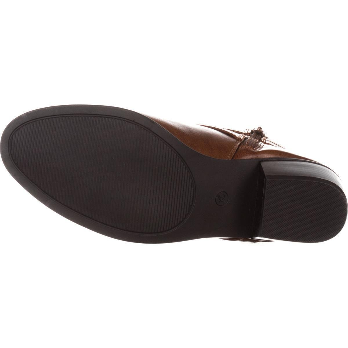 Size 7.5 Karen Scott Womens Falonn Leather Almond Toe Ankle Fashion Cognac