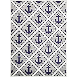 Captain Sailboat Anchors Theme Area Rug, Geometric Coastal Framework Style, Rectangle Indoor Living Room Doorway Hallway Bedroom Sofa Patio Carpet, Modern Geo Oceanic Motif, Navy, Grey, Size 8' x 10'