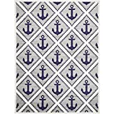 Captain Sailboat Anchors Theme Area Rug, Geometric Coastal Framework Style, Rectangle Indoor Living Room Doorway Hallway Bedroom Sofa Patio Carpet, Modern Geo Oceanic Motif, Navy, Grey, Size 9' x 12'