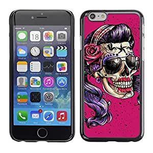 Colorful Printed Hard Protective Back Case Cover Shell Skin for Apple iPhone 6(4.7 inches) ( Pink Sunglasses Skull Funny Metal Rock )
