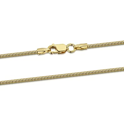 Amberta 18K Gold Plated on 925 Sterling Silver 1.4 mm Snake Chain Necklace 16