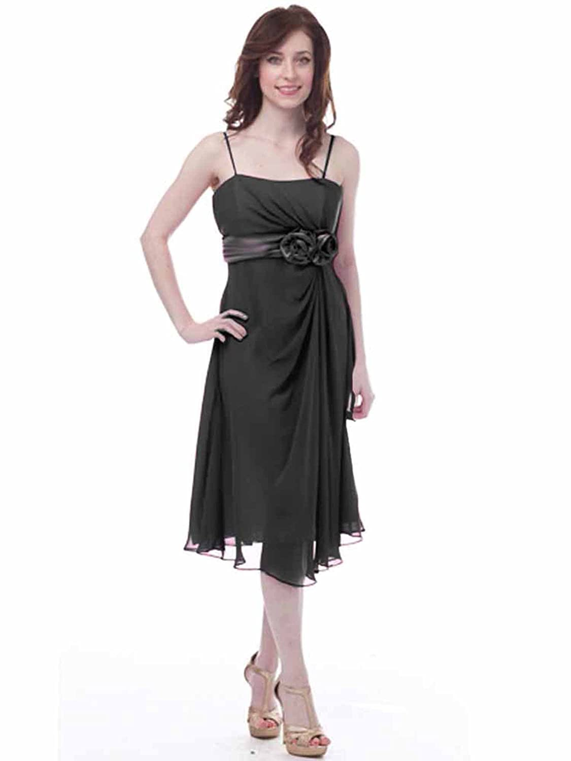14bc3759a8 Black Empire Waist Tail Dress Satin Rosette Accent