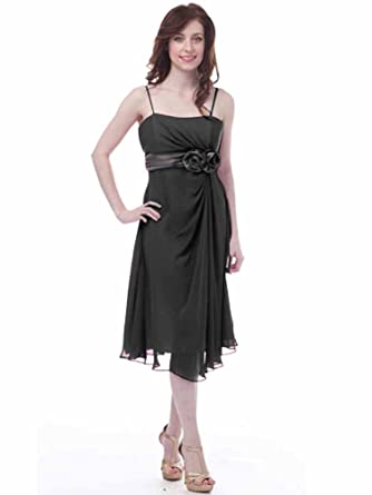 Amazon.com: Empire de color negro cintura vestido de cóctel ...