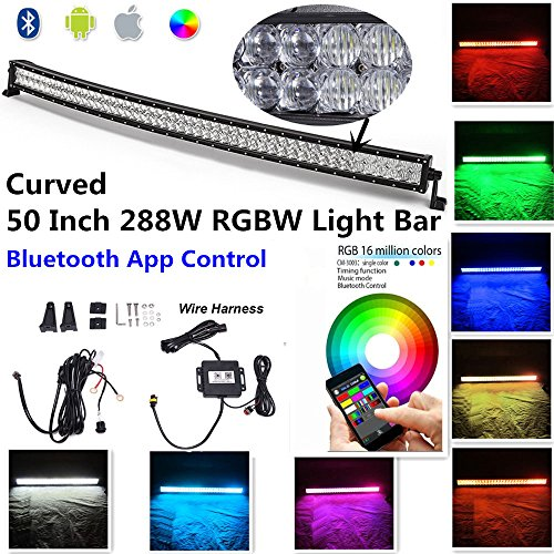 "Night Break Light 50"" 288W 5D RGB Curved Led Light Bar Combo Beam Bluetooth App control 16 million Colors Changing IP68 Led Emergency Light Bar Free Wire Harness for Offroad Jeep Truck RZR SUV SxS"
