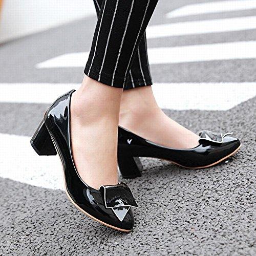 MissSaSa Damen Chunky heel gescchlossen Pointed Toe Lackleder Pumps Schwarz